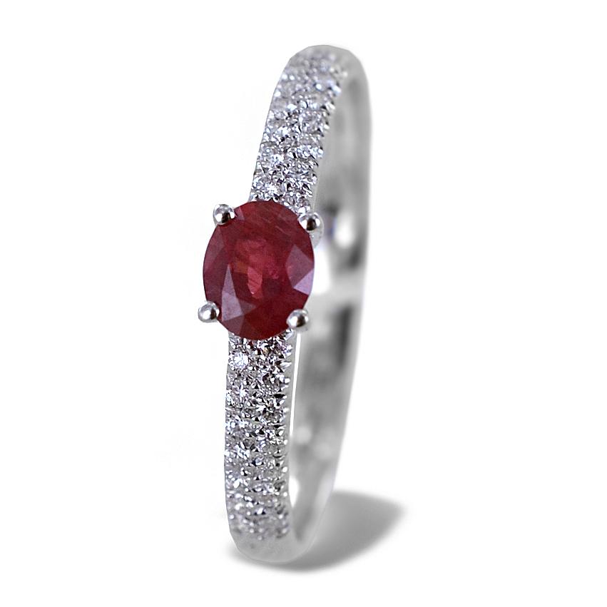 Anello in oro con Rubino 0.37 ct e diamanti sul gambo - Gioielli Valenza