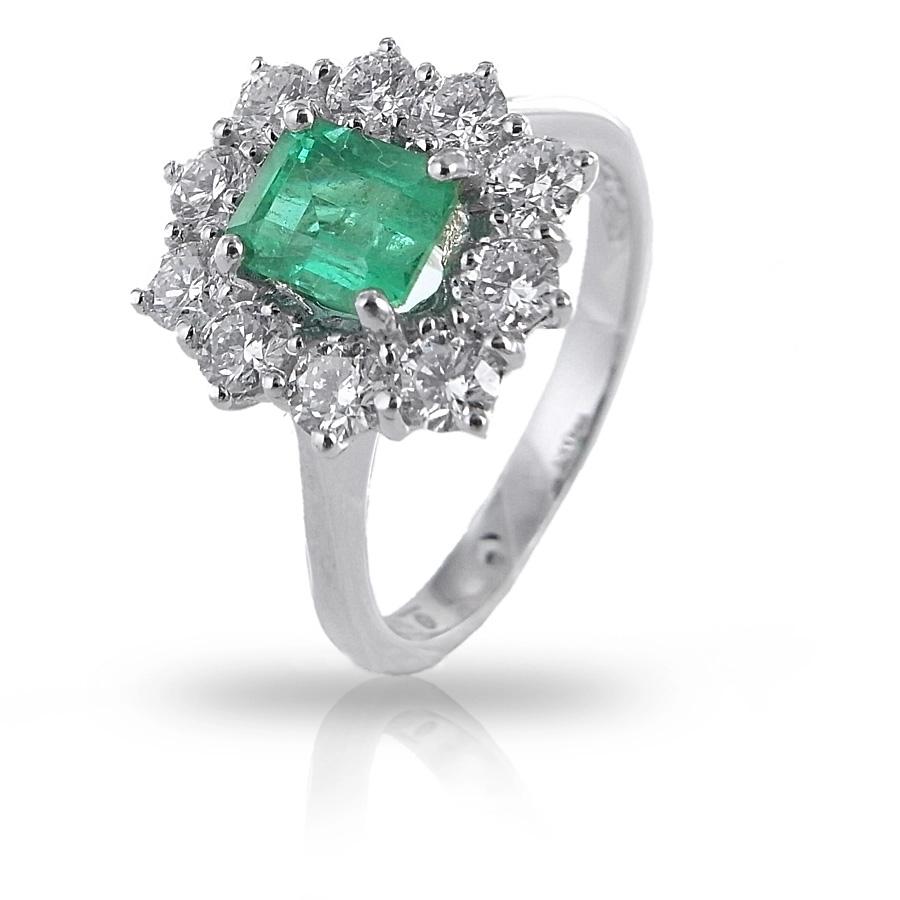 Anello in oro Smeraldo ct. 0.93 e Diamanti ct. 0.76 Gioielli Valenza
