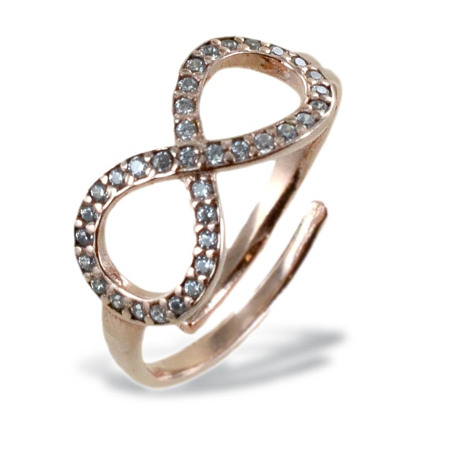 Anello Infinity in argento e zirconi anello infinito da ragazza