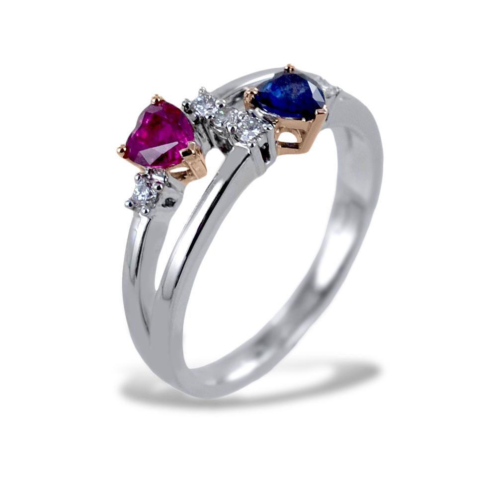 Anello IO E TE con Cuore Zaffiro e Cuore Rubino con Diamanti