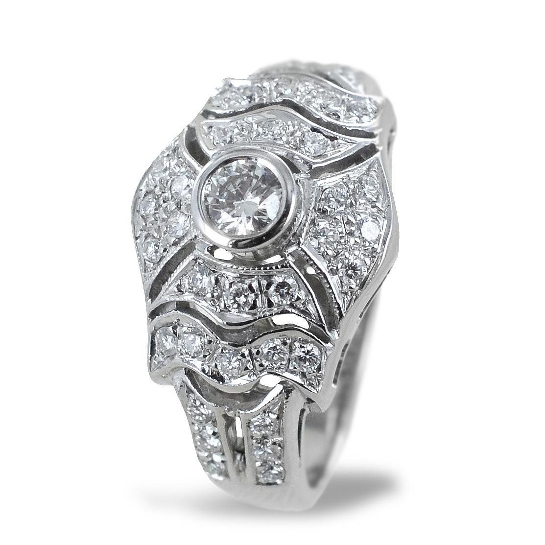 Anello Liberty in oro e diamanti - anello fantasia diamanti a pave