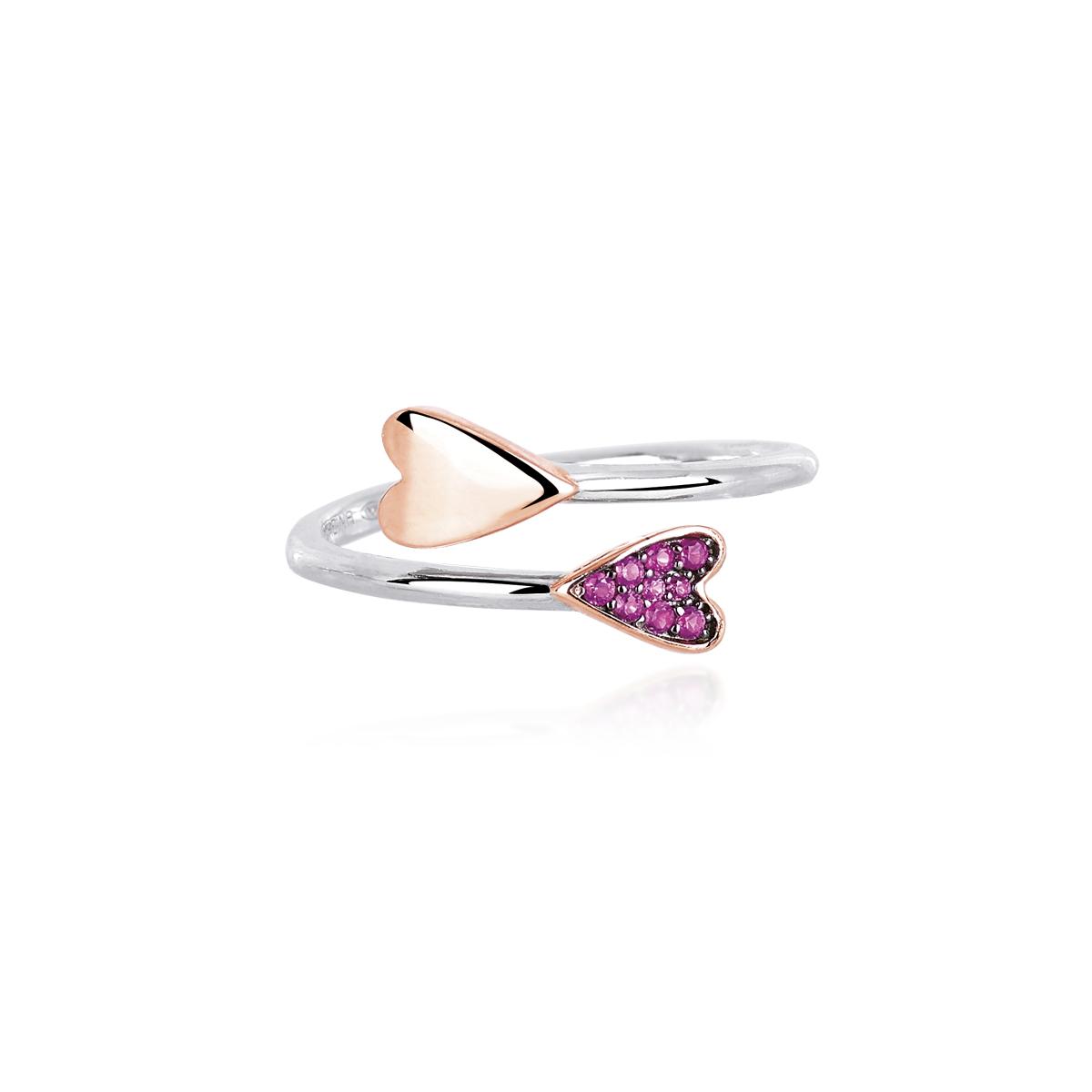 Anello Mabina con doppio Cuore in argento rosato con rubini sintetici
