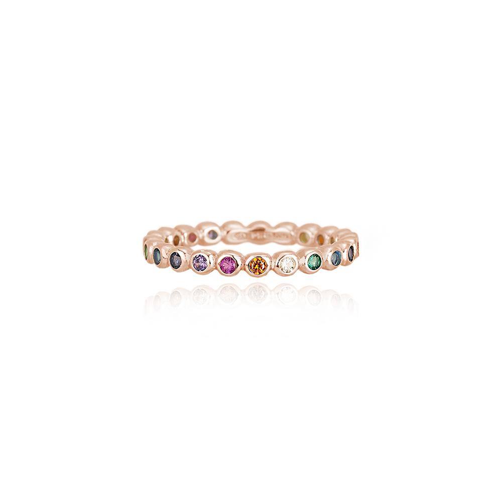 Anello Mabina Cuore in argento rosato con pietre colorate mis 11 523132