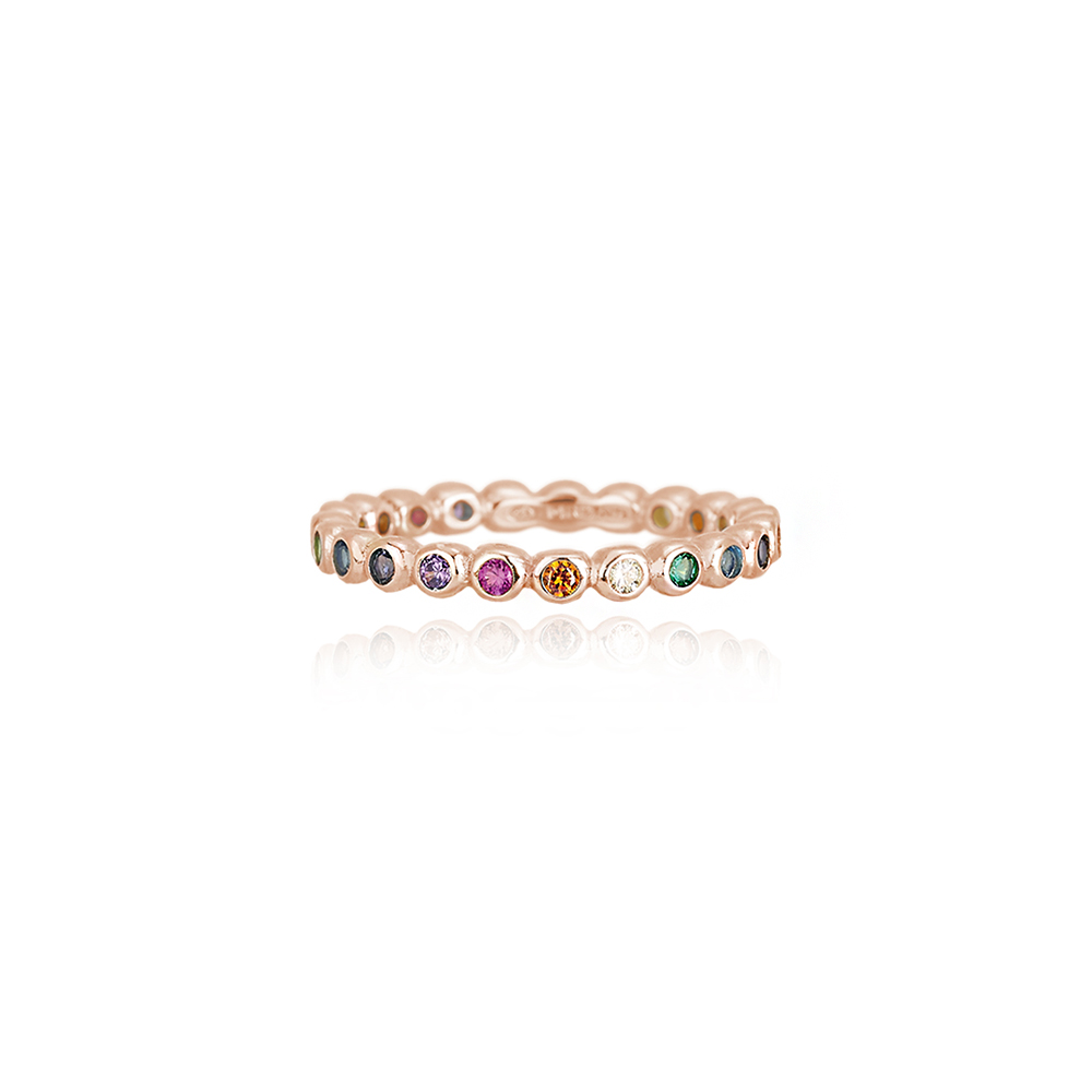 Anello Mabina Cuore in argento rosato con pietre colorate mis 13 523132