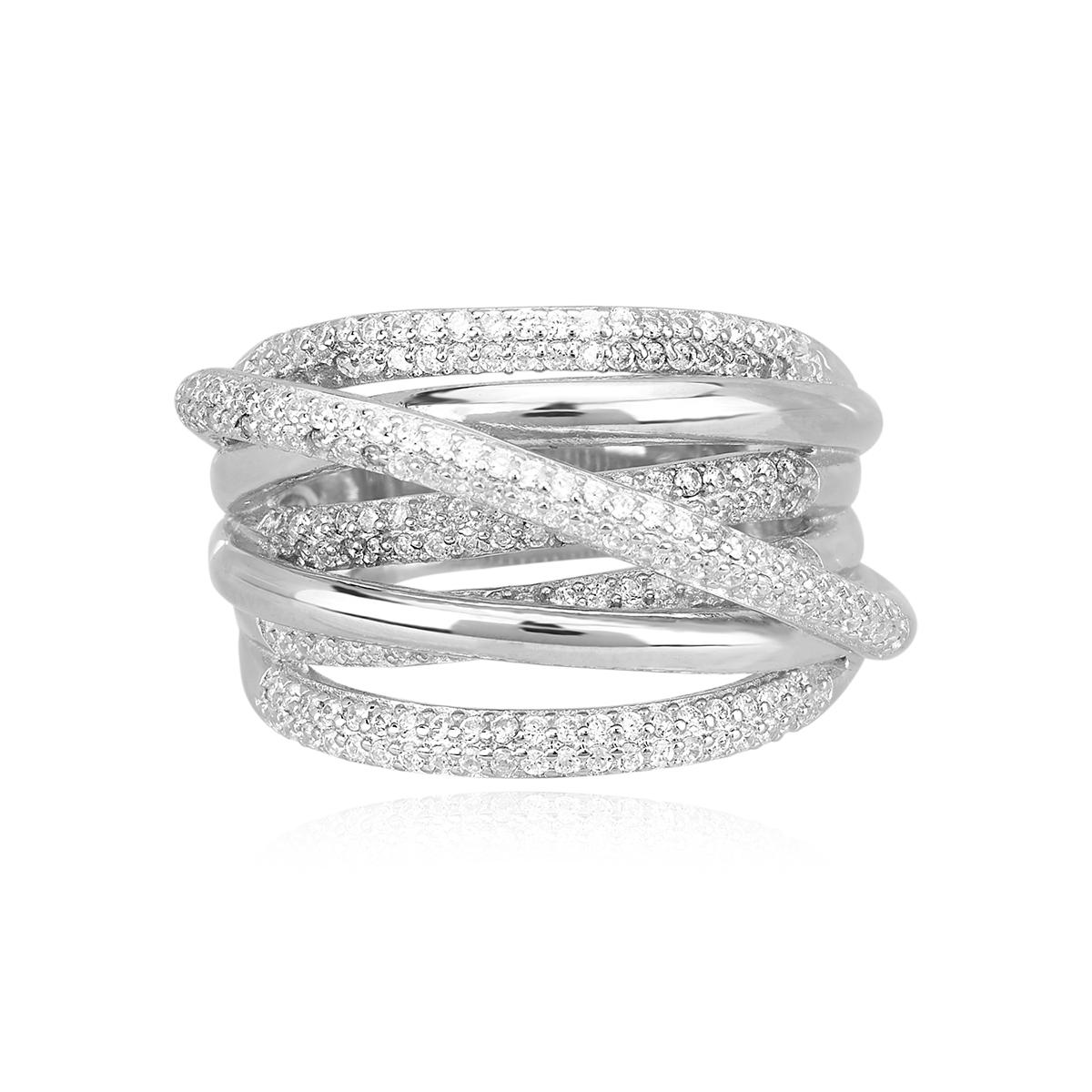 Anello Mabina in argento con zirconi misura 19