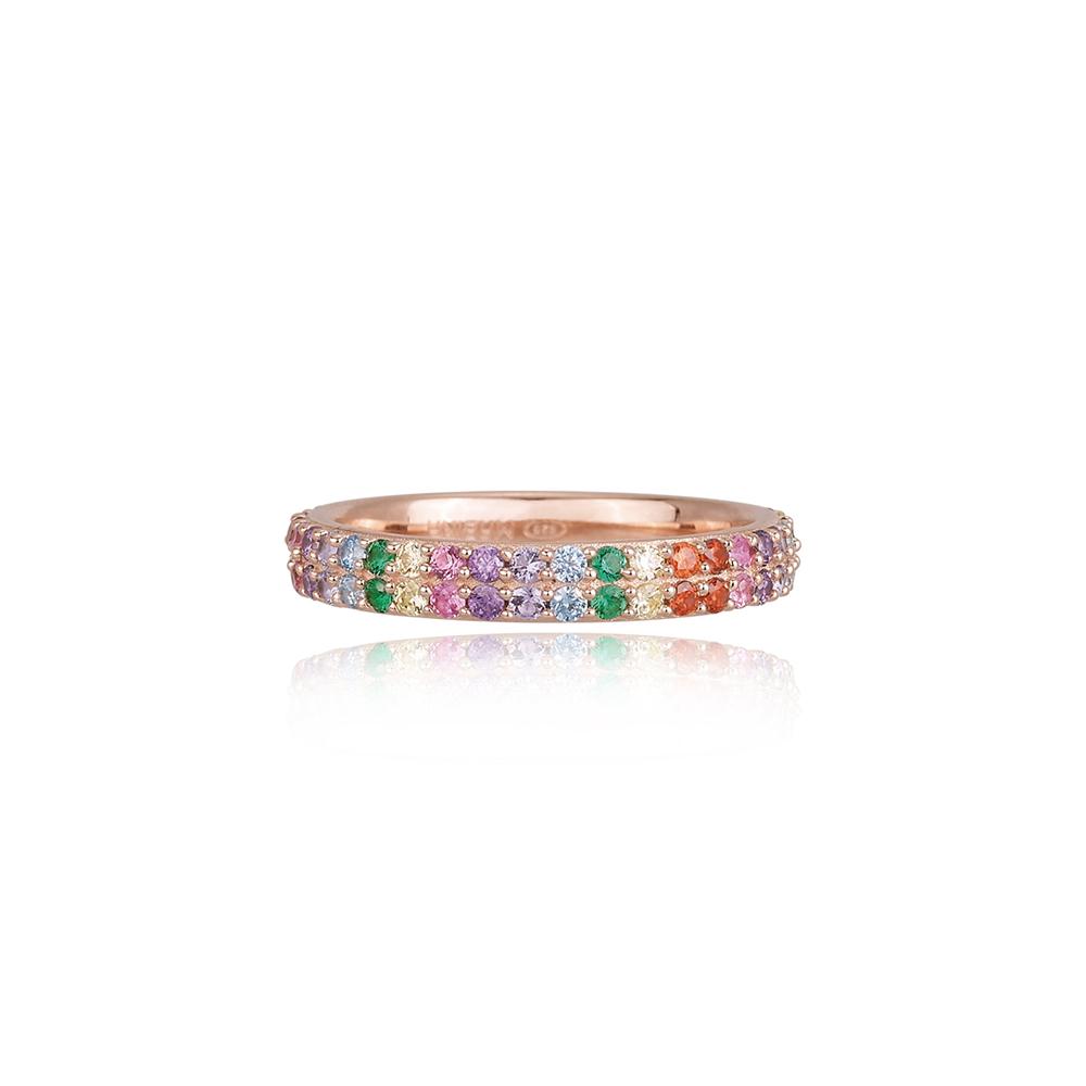Anello Mabina in argento rosato con zirconi colorati  misura 13