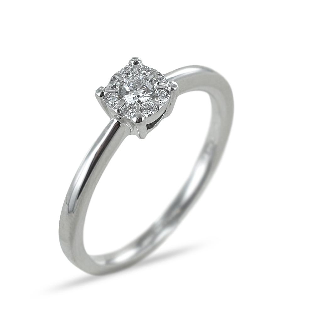 Anello magic con diamanti effetto solitario ct 0.14