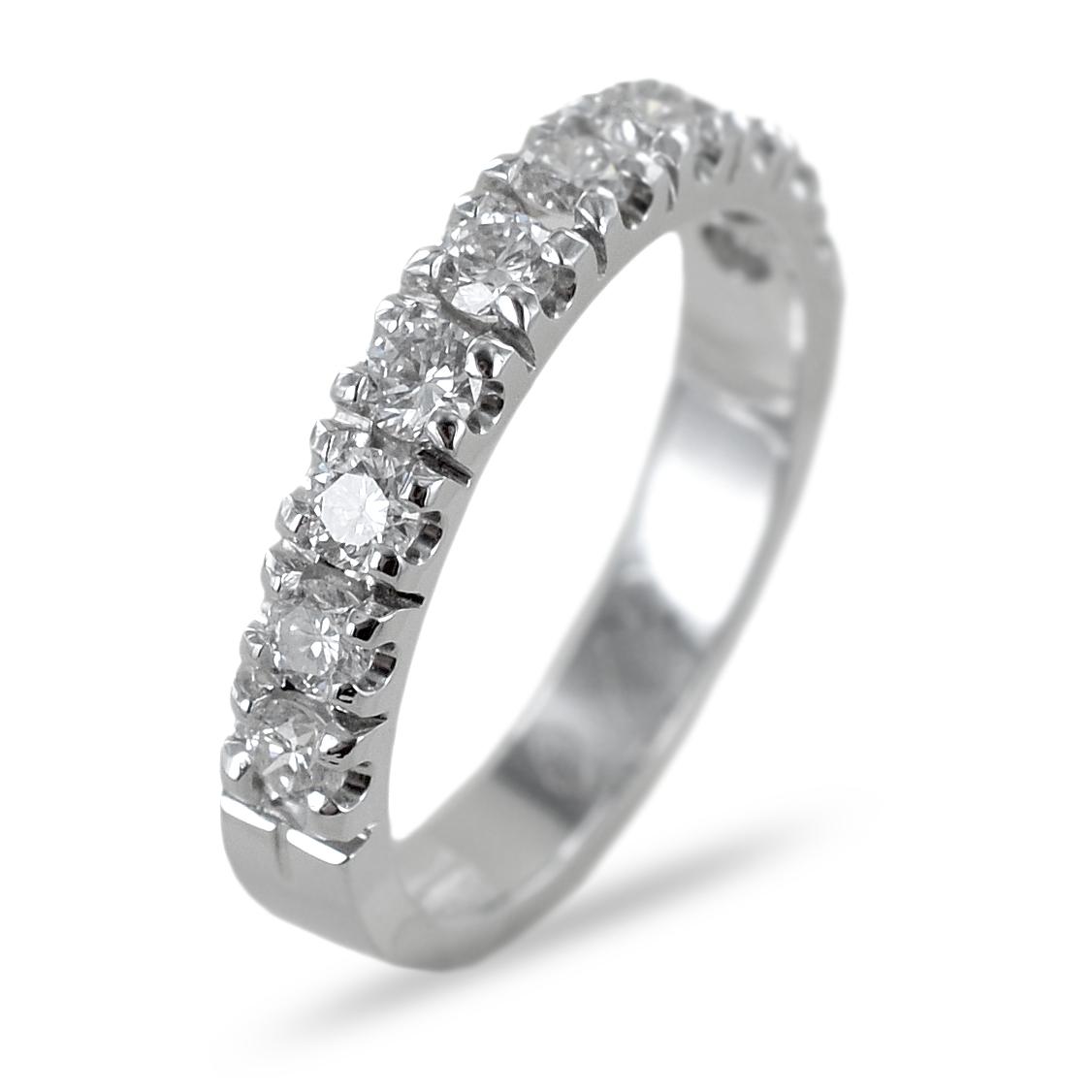 Anello mezza riviera Eternity in oro e diamanti ct 0.70 colore G