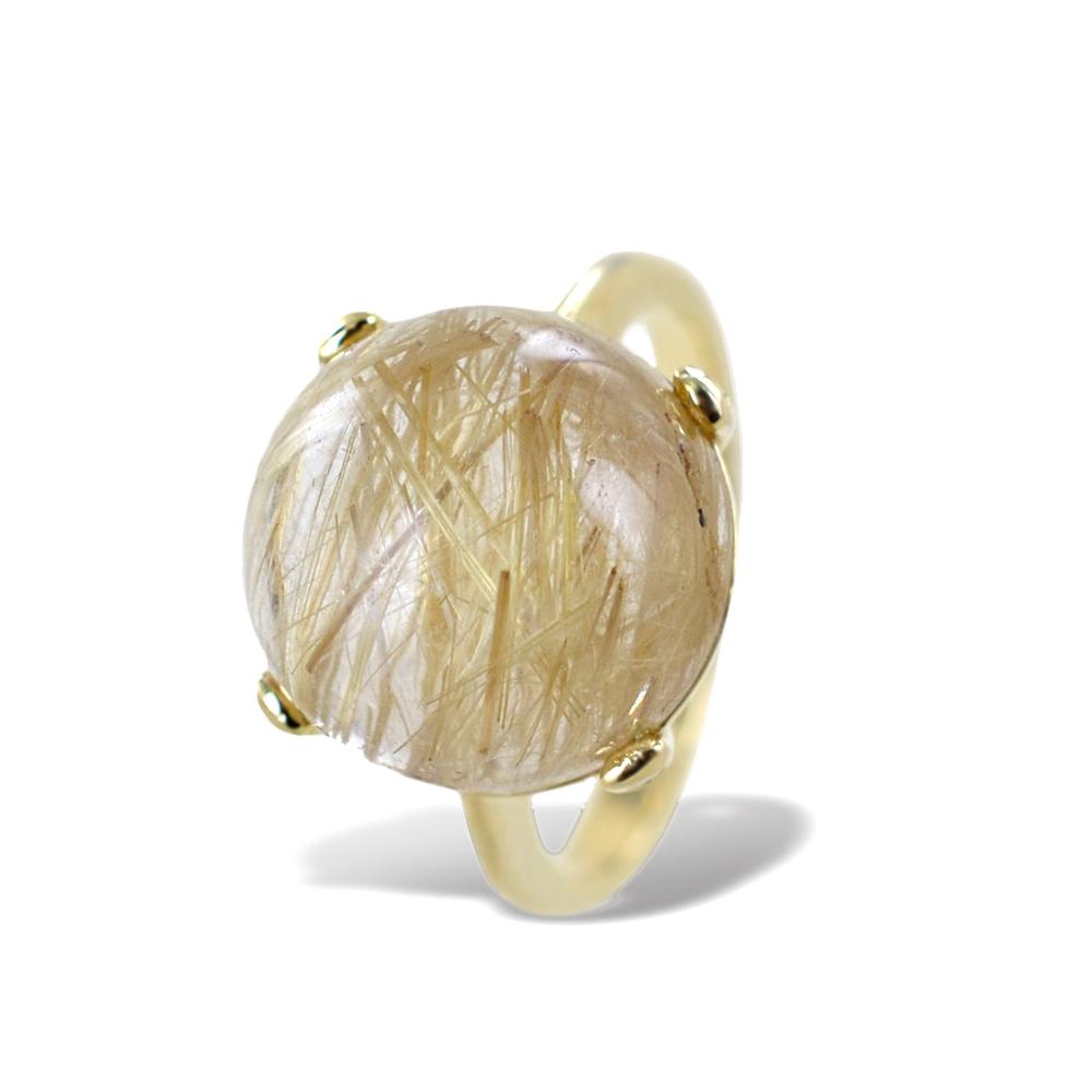 Anello particolare con quarzo cabochon sferico e diamanti naturali