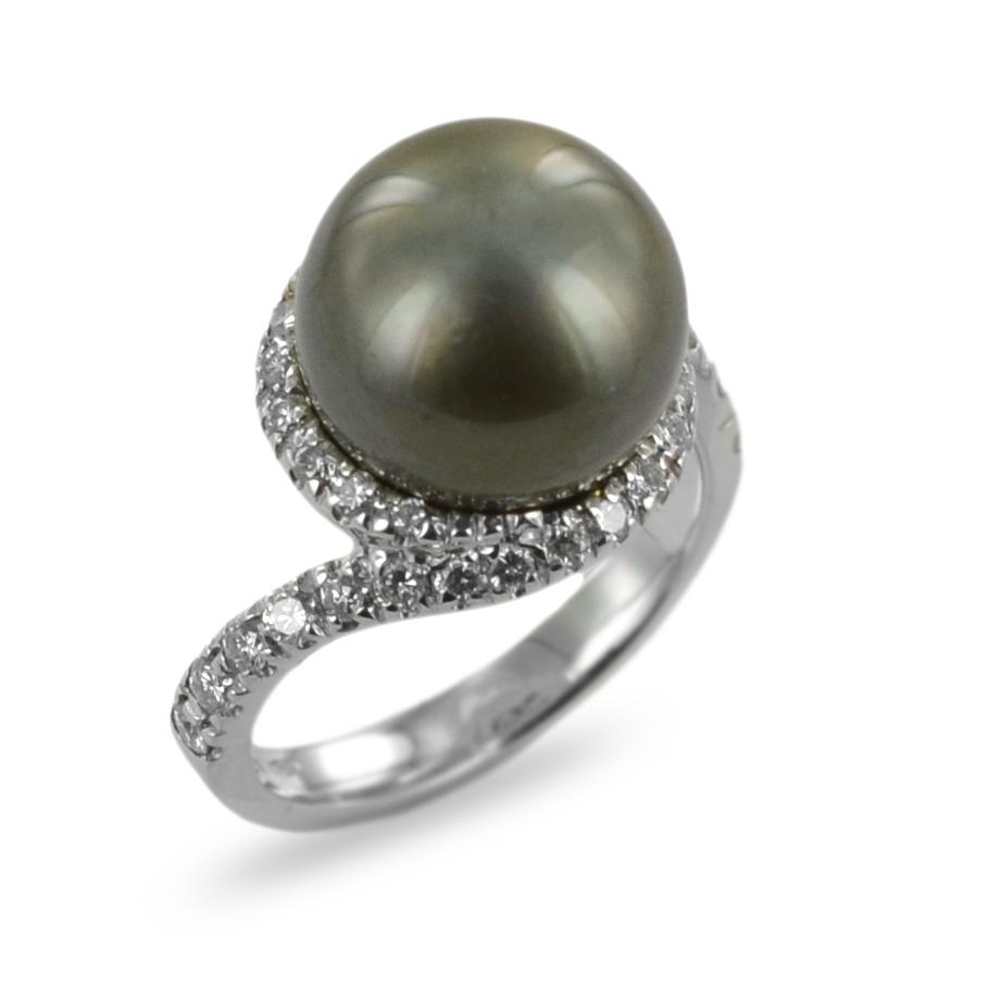 Anello con Perla nera Tahiti e diamanti