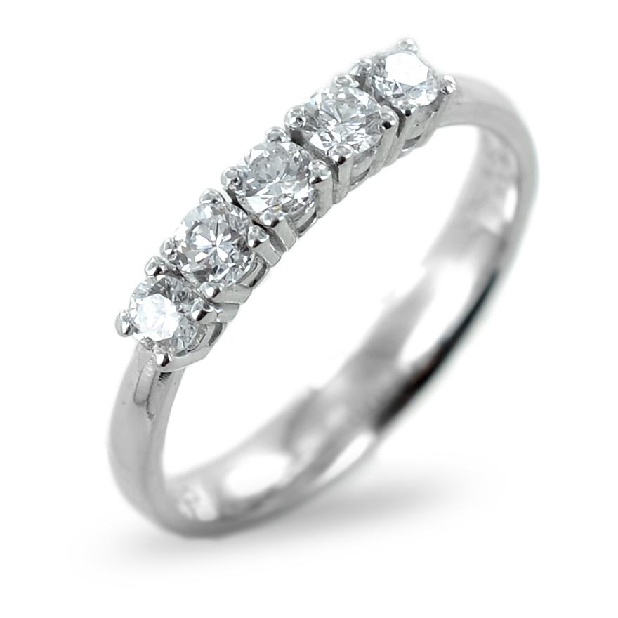 Anello riviera a 5 diamanti mezzo carato ct 0.52 G VVS