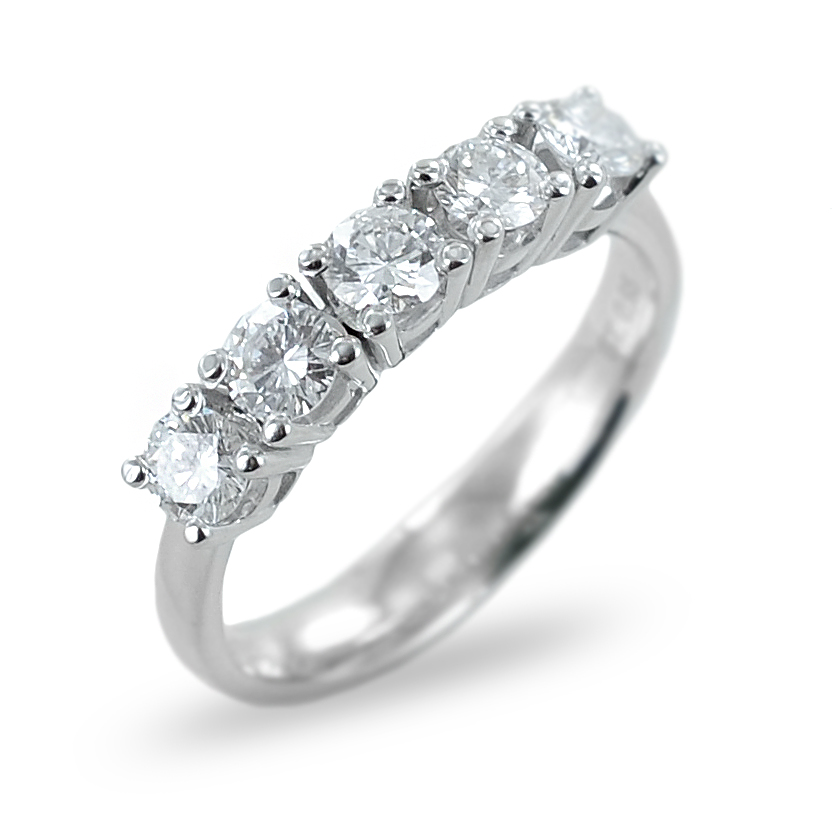 Anello riviera a 5 diamanti ct 0.95 G VVS