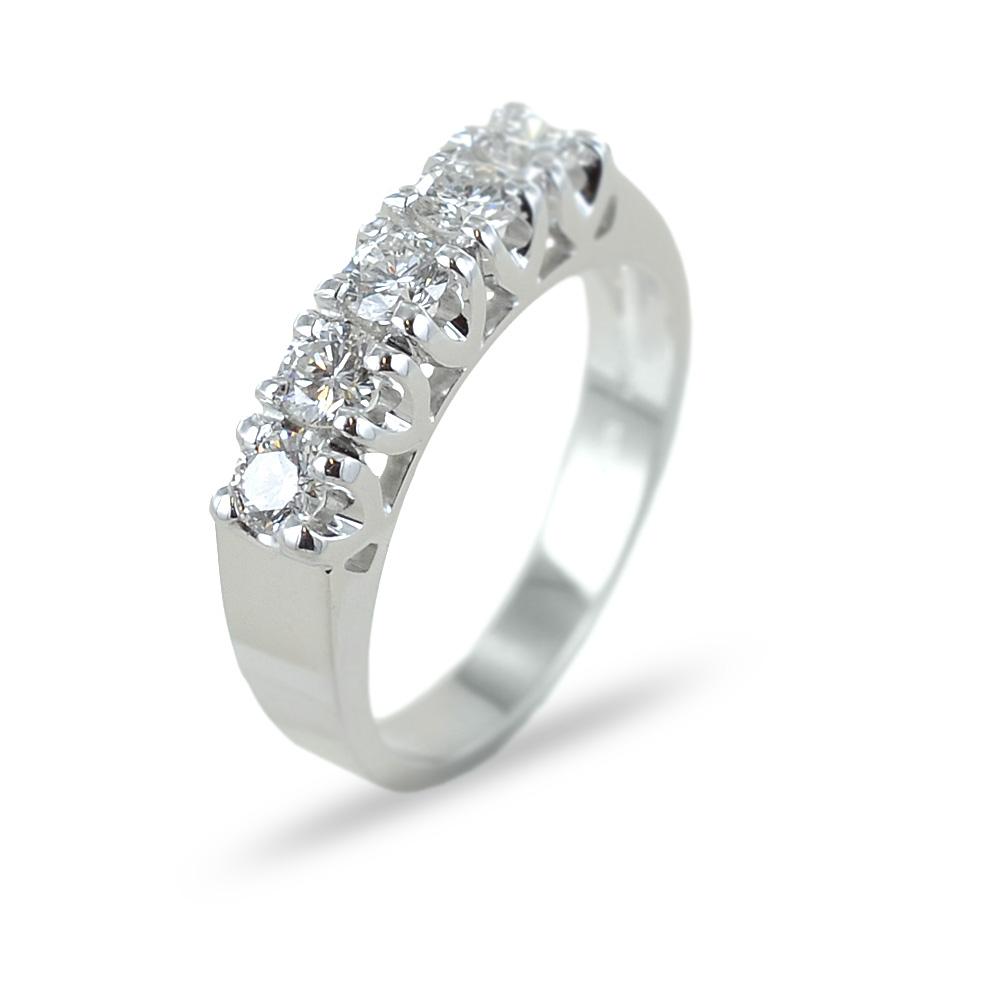 Anello Riviera a 5 diamanti in oro e diamanti ct 0.68 G
