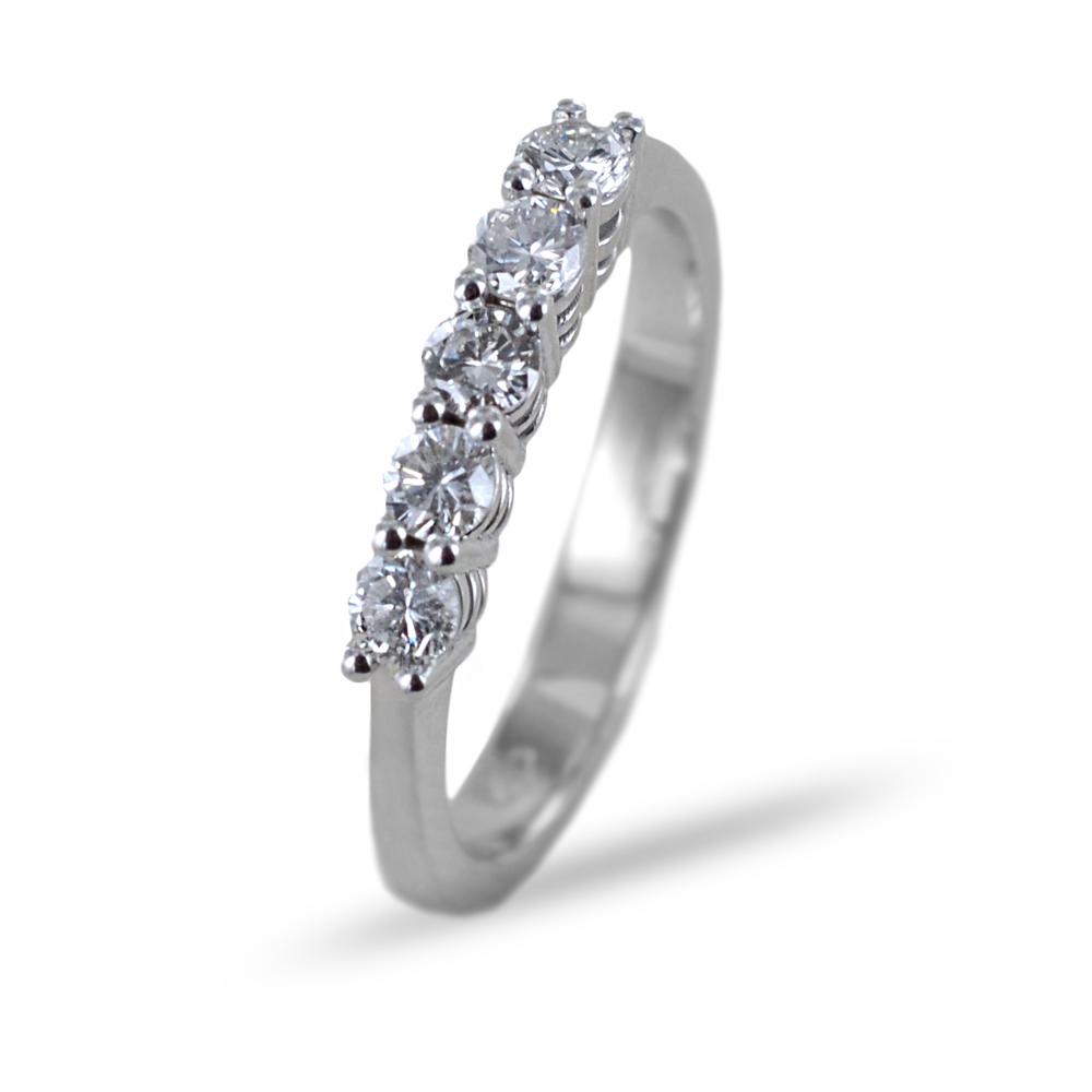 Anello Riviera a 5 diamanti in oro e diamanti mezzo carato