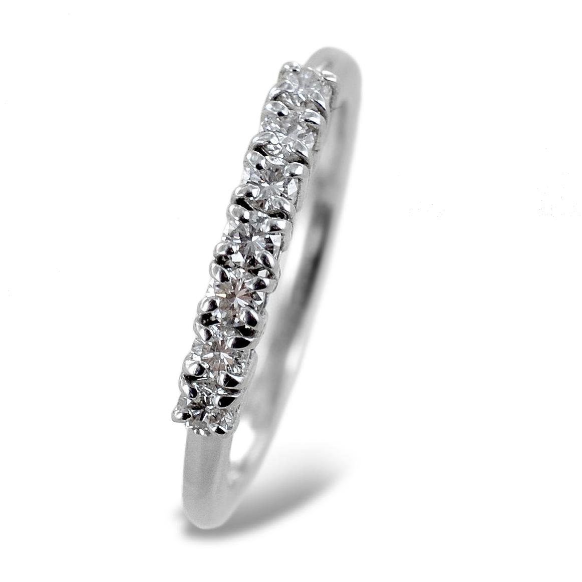 Anello Riviera a 7 diamanti in oro e diamanti 0.35 carati