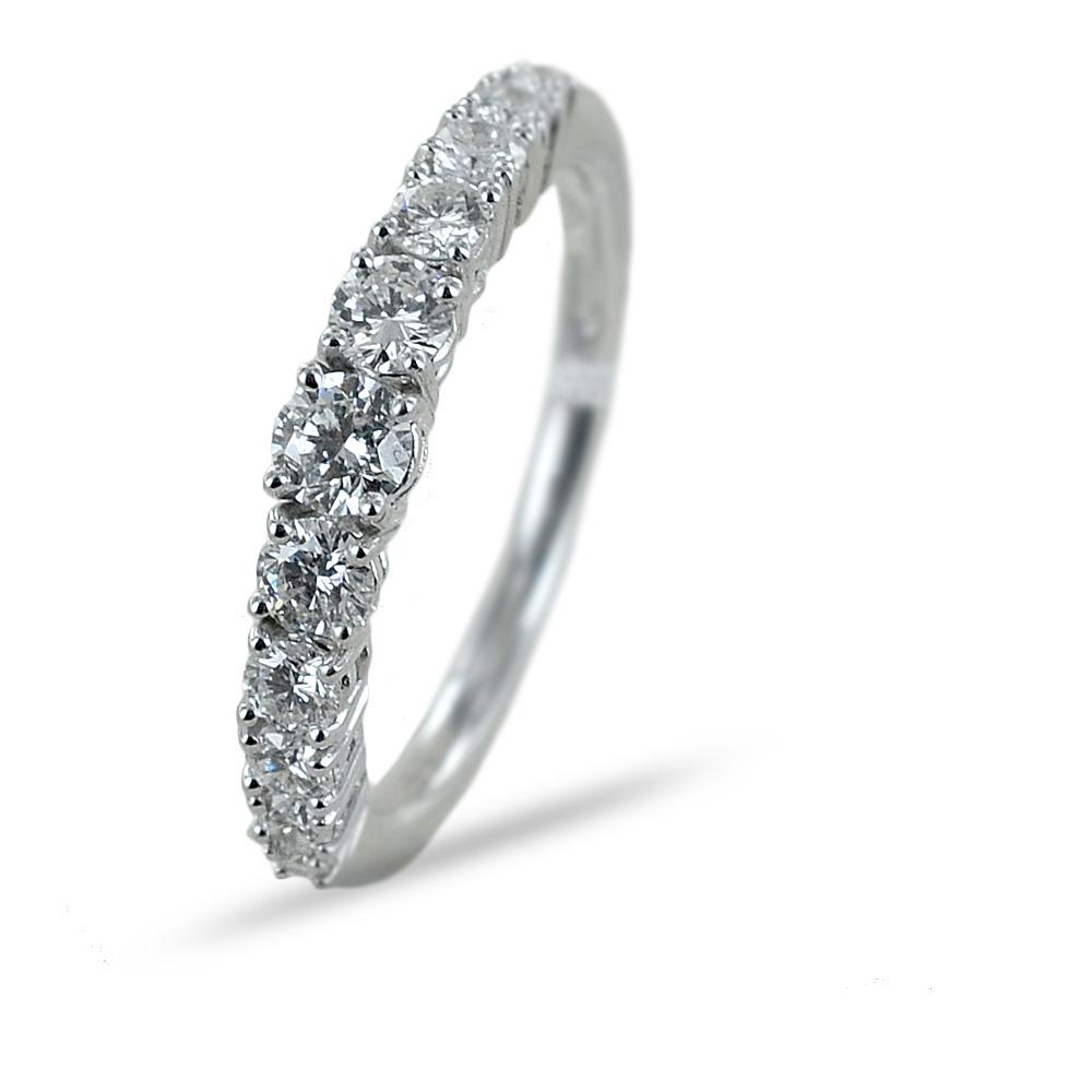 Anello Riviera a scalare con 11 Diamanti per carati 0.66 F VS