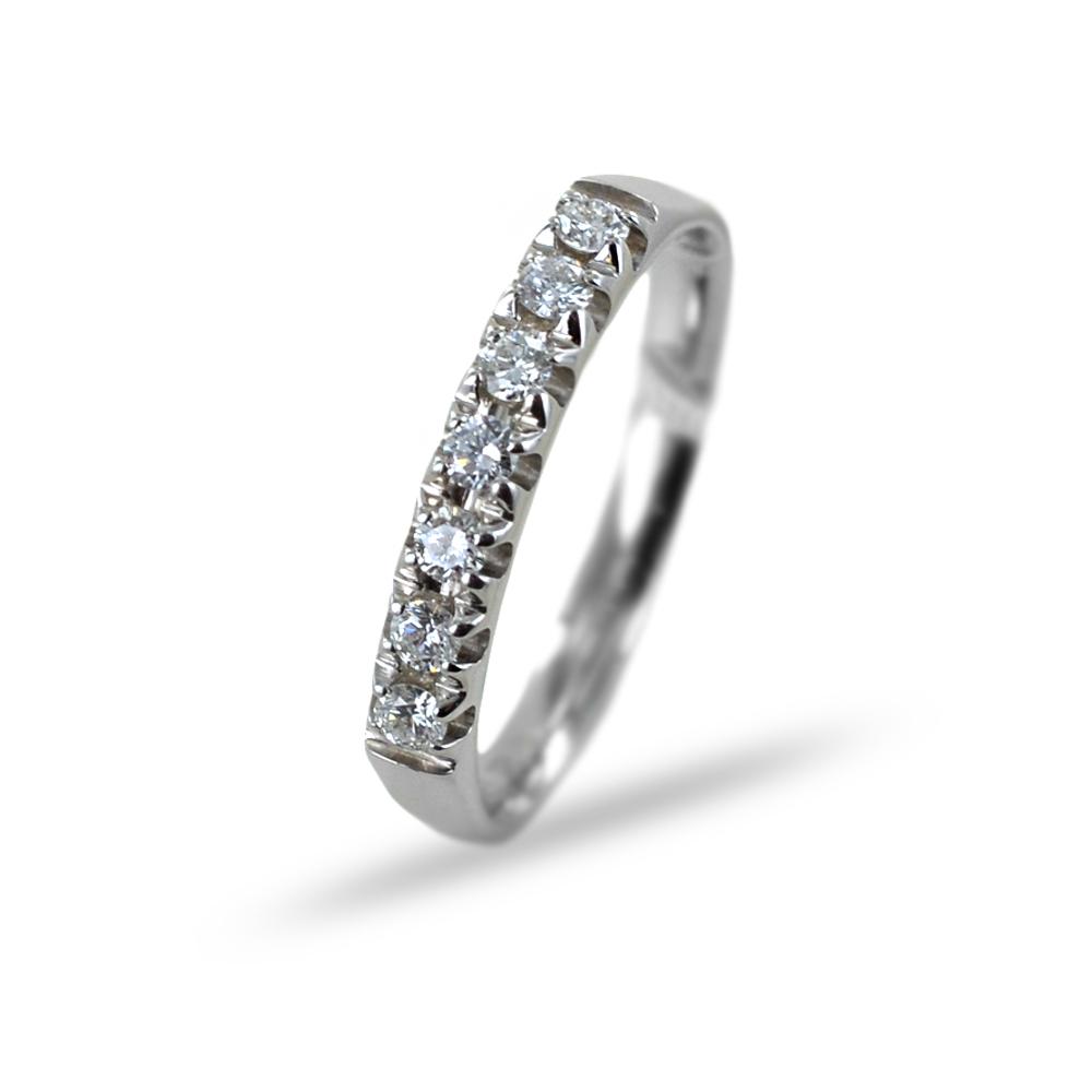 Anello Riviera con 7 Diamanti per carati 0.22 G VS Gioielli Valenza