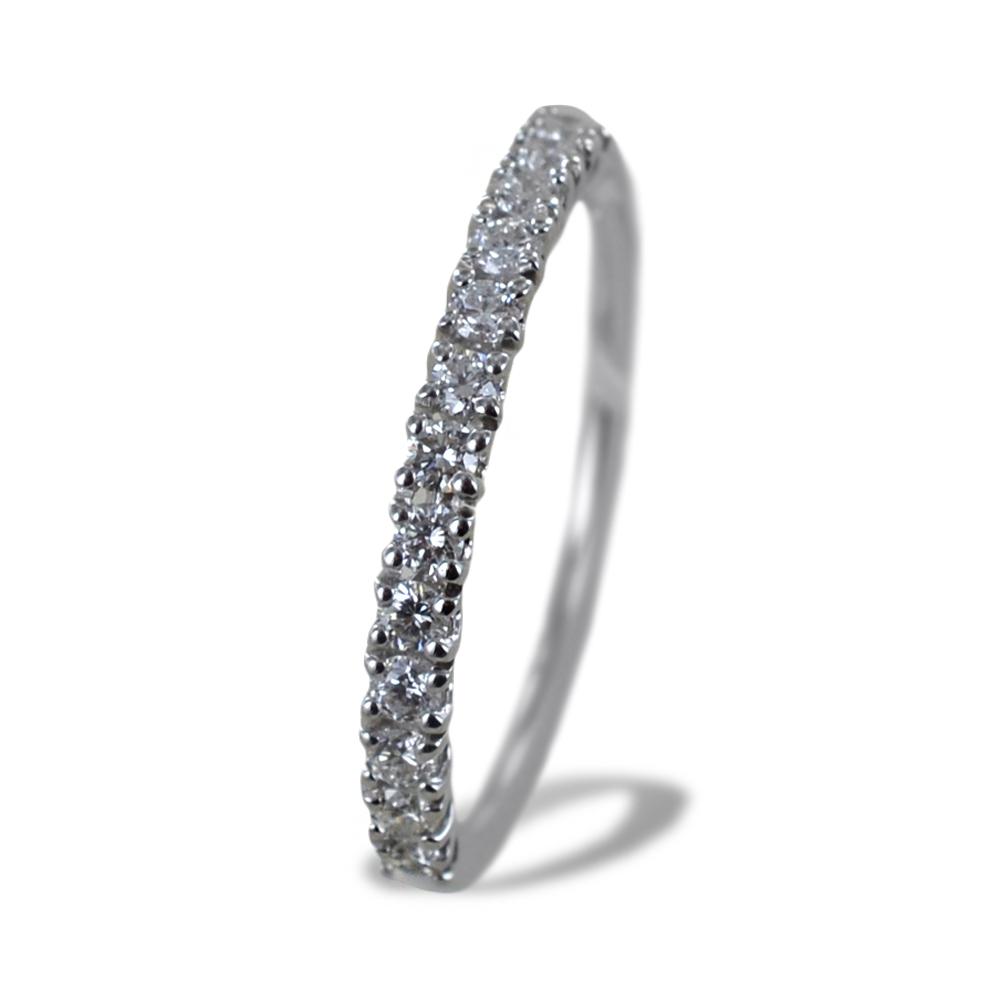 Anello riviera in oro bianco con diamanti ct 0.31 G