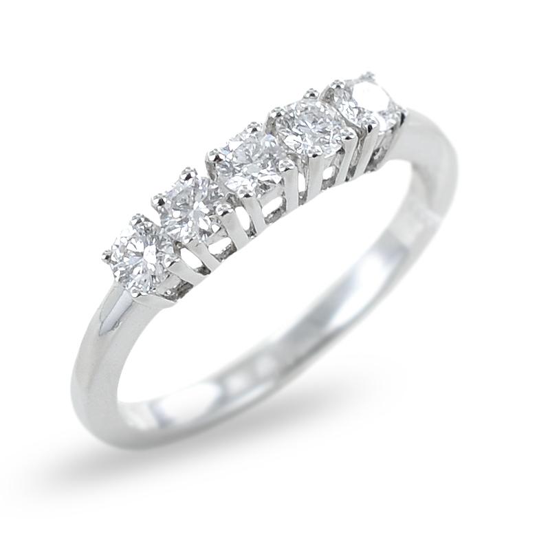 Anello Riviera in oro bianco con Diamanti ct 0.48 colore G