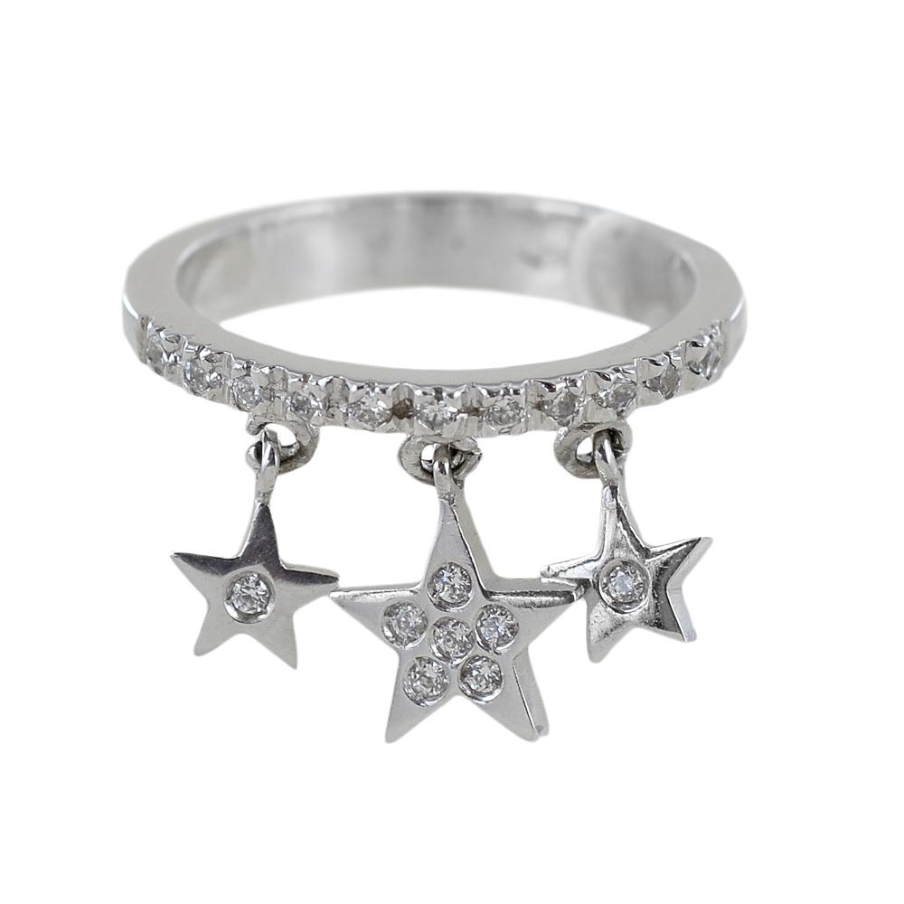 Anello riviera in oro con tre charms a stella