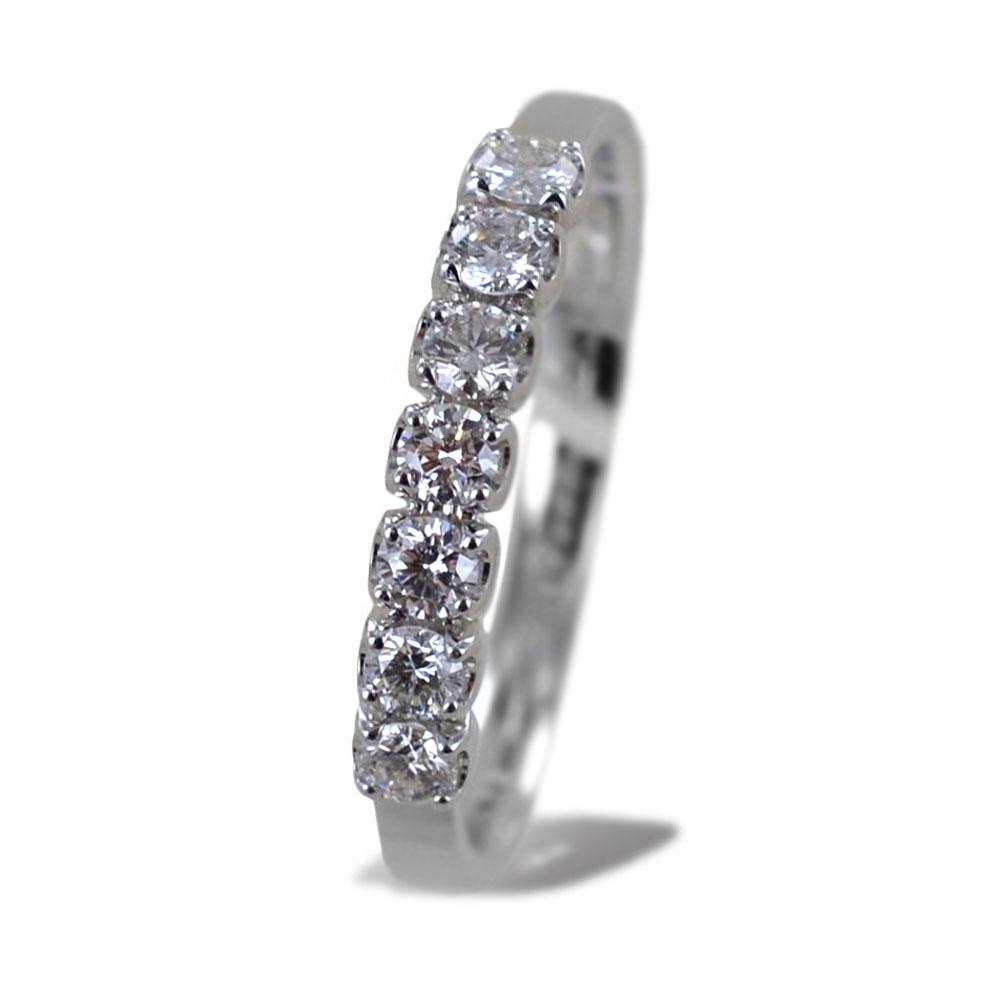 Anello riviera media in oro bianco con diamanti ct 0.38 G Gioielli Valenza