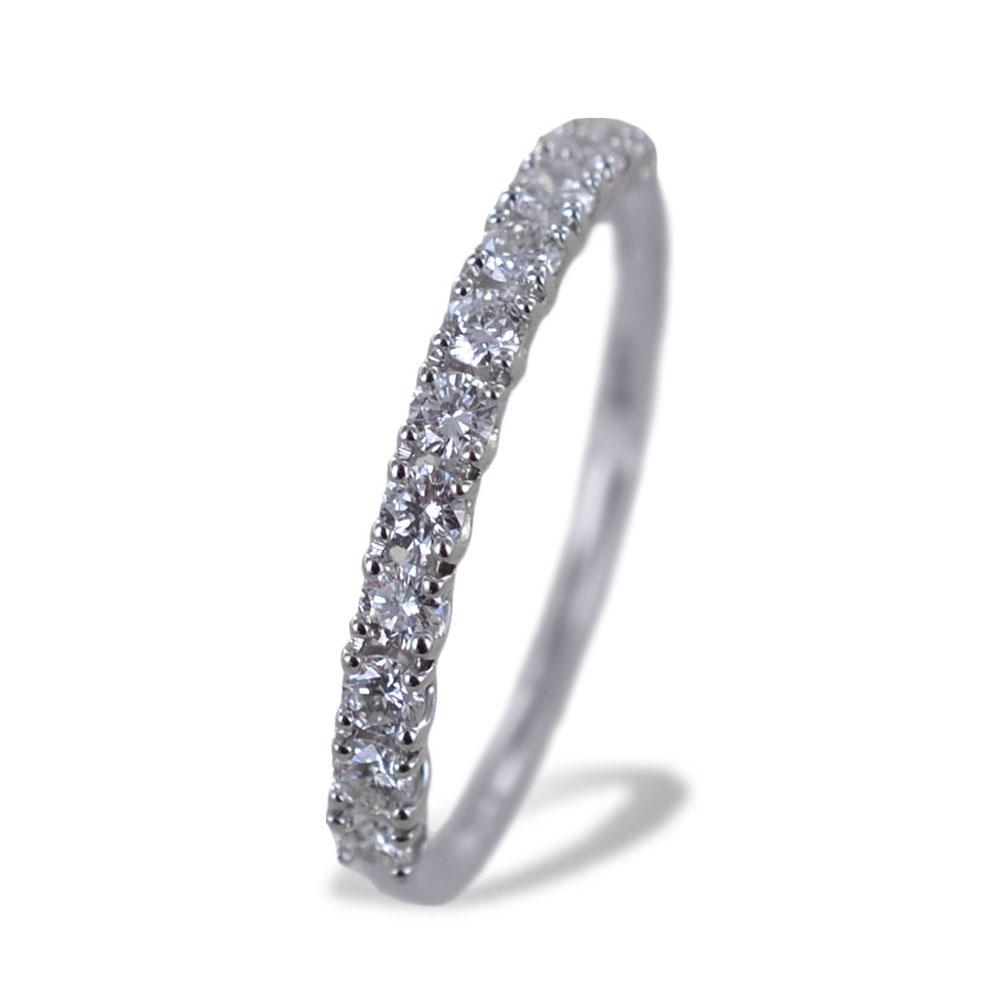 Anello riviera media in oro bianco con diamanti da quasi mezzo carato