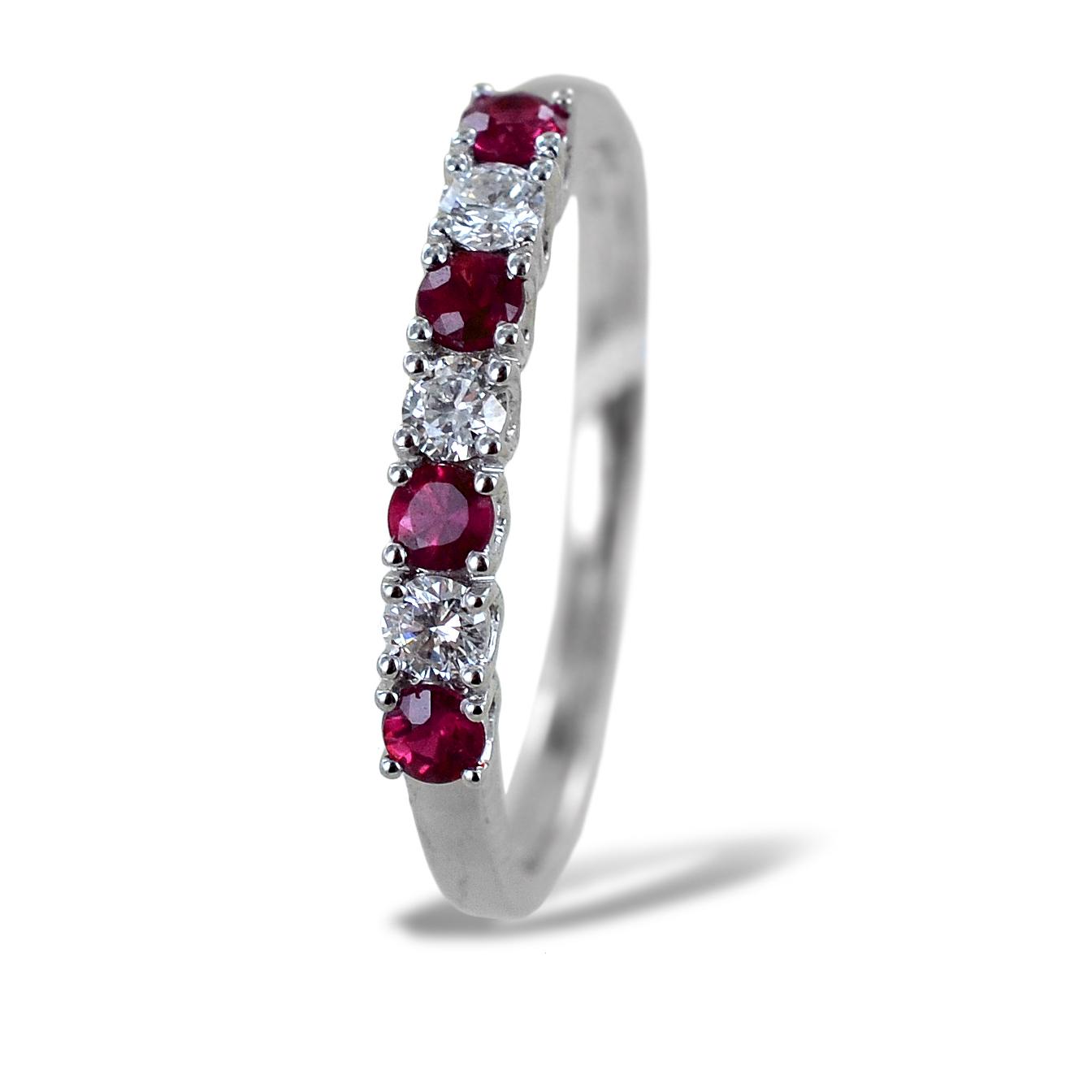 Anello Riviera Rubini e Diamanti alternati Gioielli Valenza