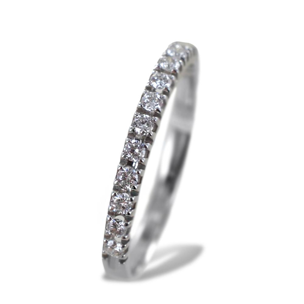 Anello riviera sottile in oro bianco con diamanti ct 0.19 G Gioielli Valenza