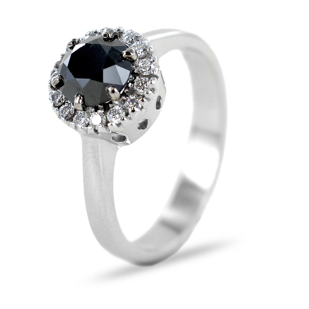 Anello Rosetta con Diamante nero 1 carato e diamanti