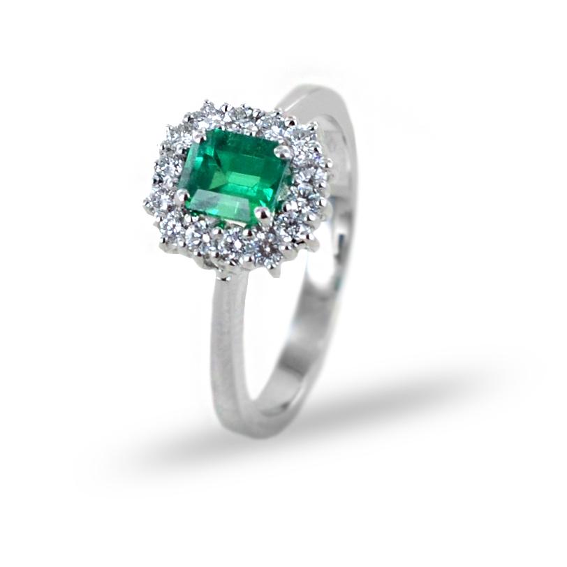 Anello rosetta Smeraldo e Diamanti