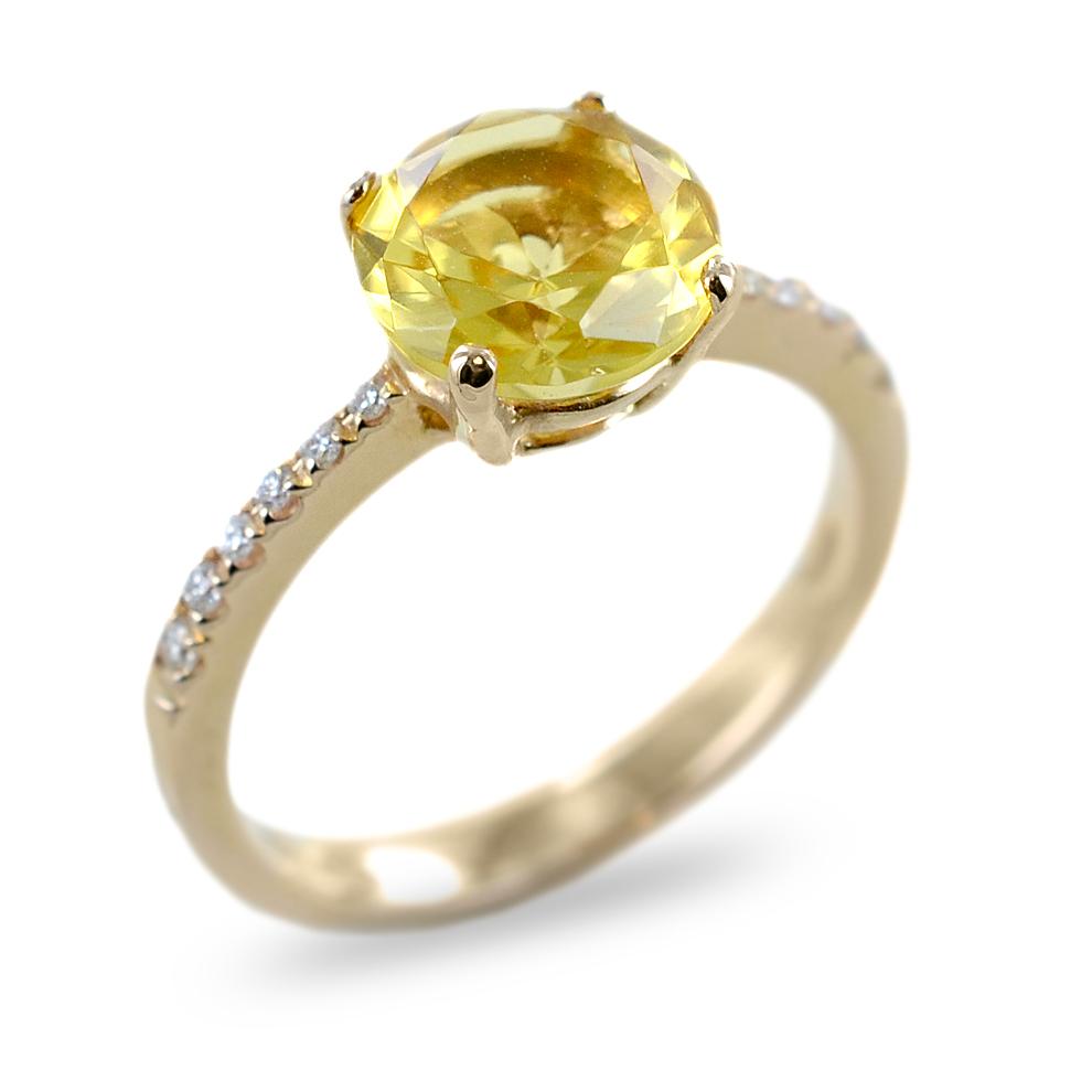 Anello Salvini Collezione Trilly diamanti e quarzo Lemon