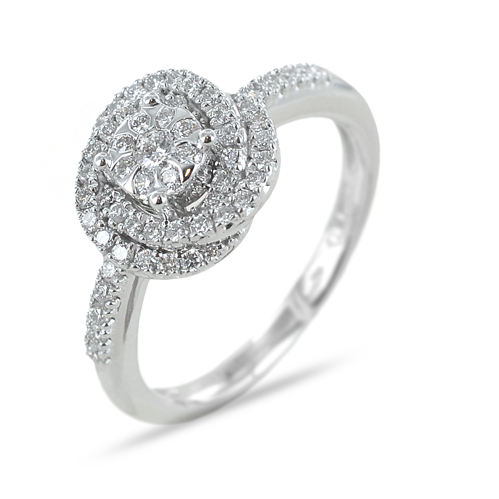 Anello Salvini Daphne con diamanti effetto solitario con contorno di diamanti