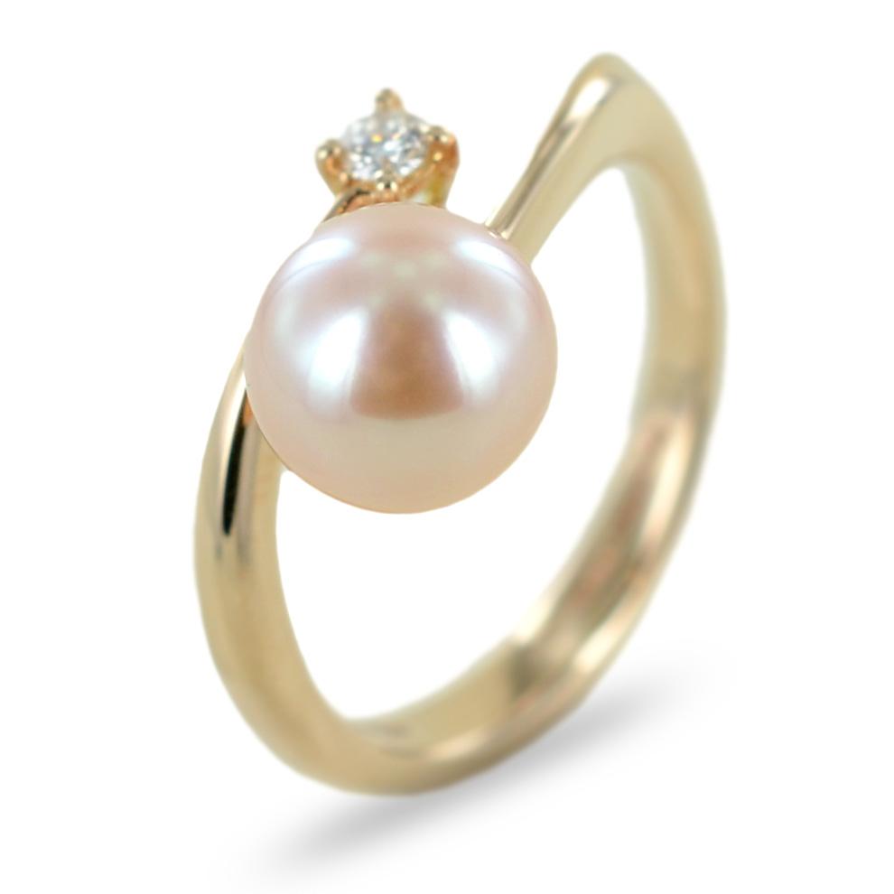 Anello Salvini in oro rosa con perla e diamante collezione Vanity 20073748