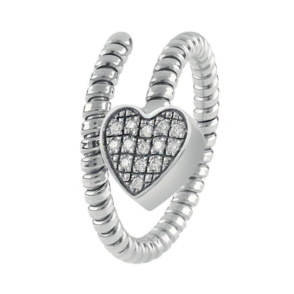 Anello Semirigido con ciondolo cuore Salvini in oro bianco e diamante MINIMAL POP 20084326