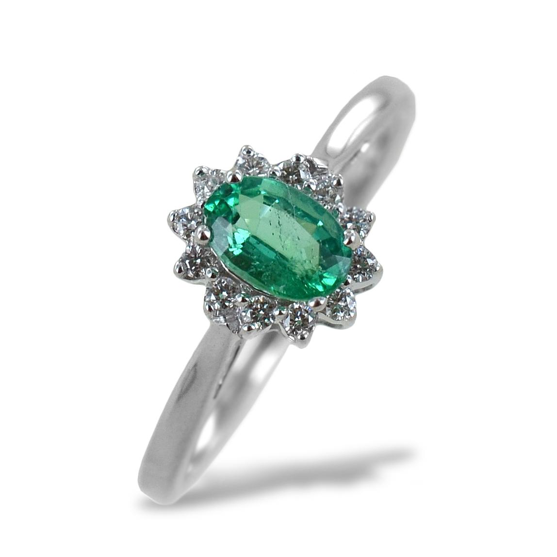 Anello Smeraldo e Rosetta diamanti modello Maharaja Gioielli Raaja