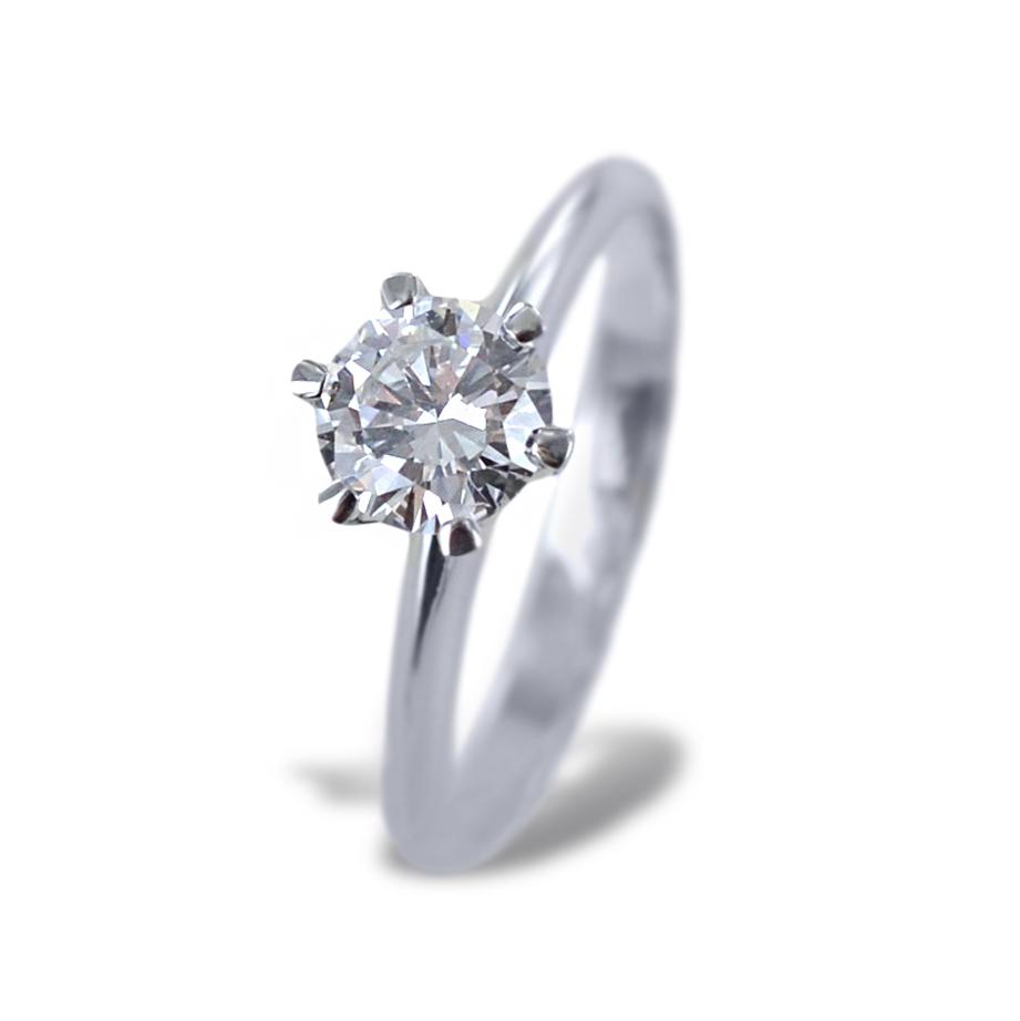 Anello Solitario a Corona con diamante da oltre mezzo carato 0.68