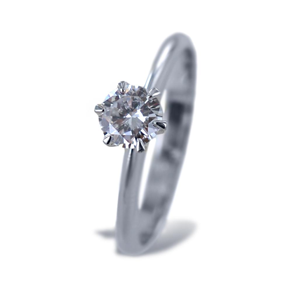 Anello Solitario a Corona con diamante da quasi mezzo carato 0.44