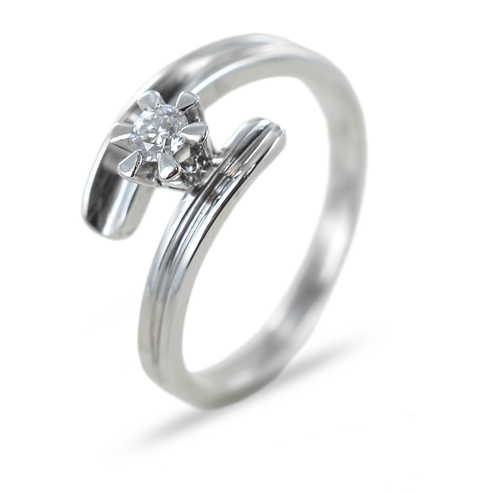 Anello solitario con diamante 0.15 carati G color