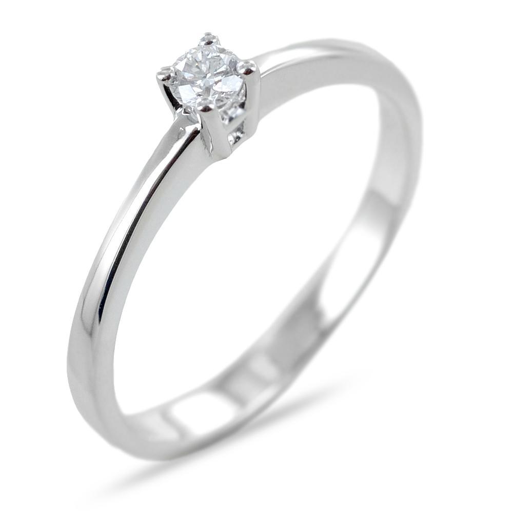 Anello solitario con diamante ct 0.07 G VS dritto