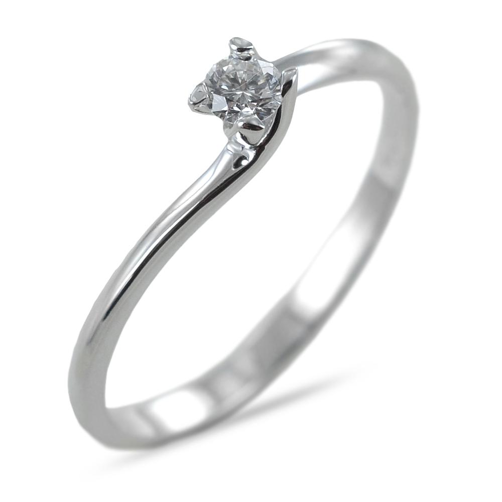 Anello solitario con diamante ct 0.09 G VS valentine