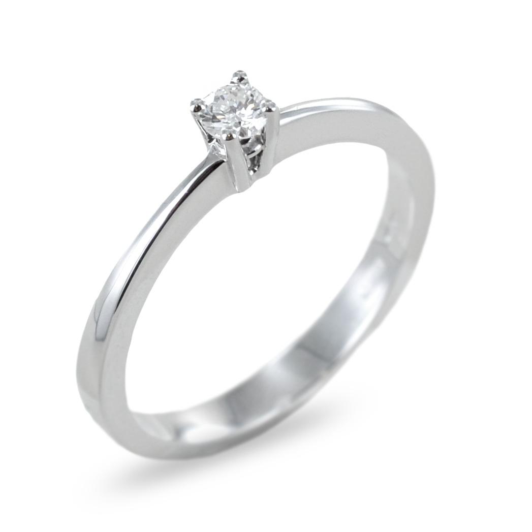 Anello solitario con diamante ct 0.11 G VS montatura dritta