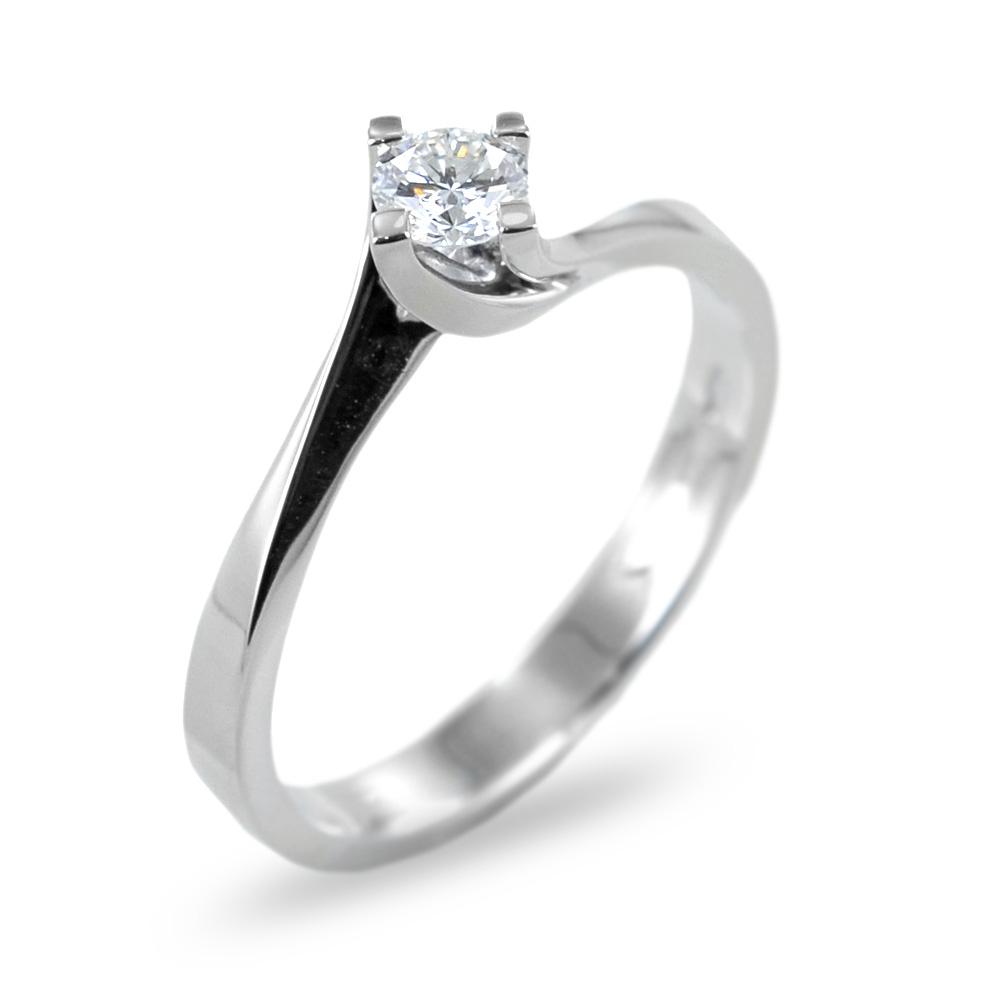 Anello solitario con diamante ct 0.10 G VS valentine