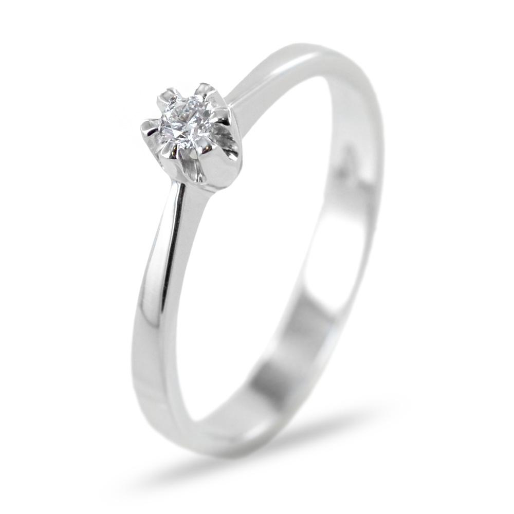 Anello solitario con diamante piccolo a 6 griffes 0.05 G