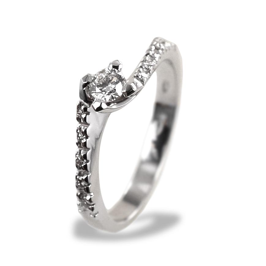 Anello solitario con diamanti sul gambo Valentine 0.30 ct