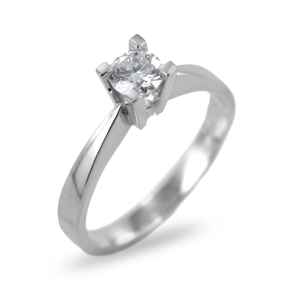 Anello solitario con incastonatura alta diamante medio ct 0.17 G VS