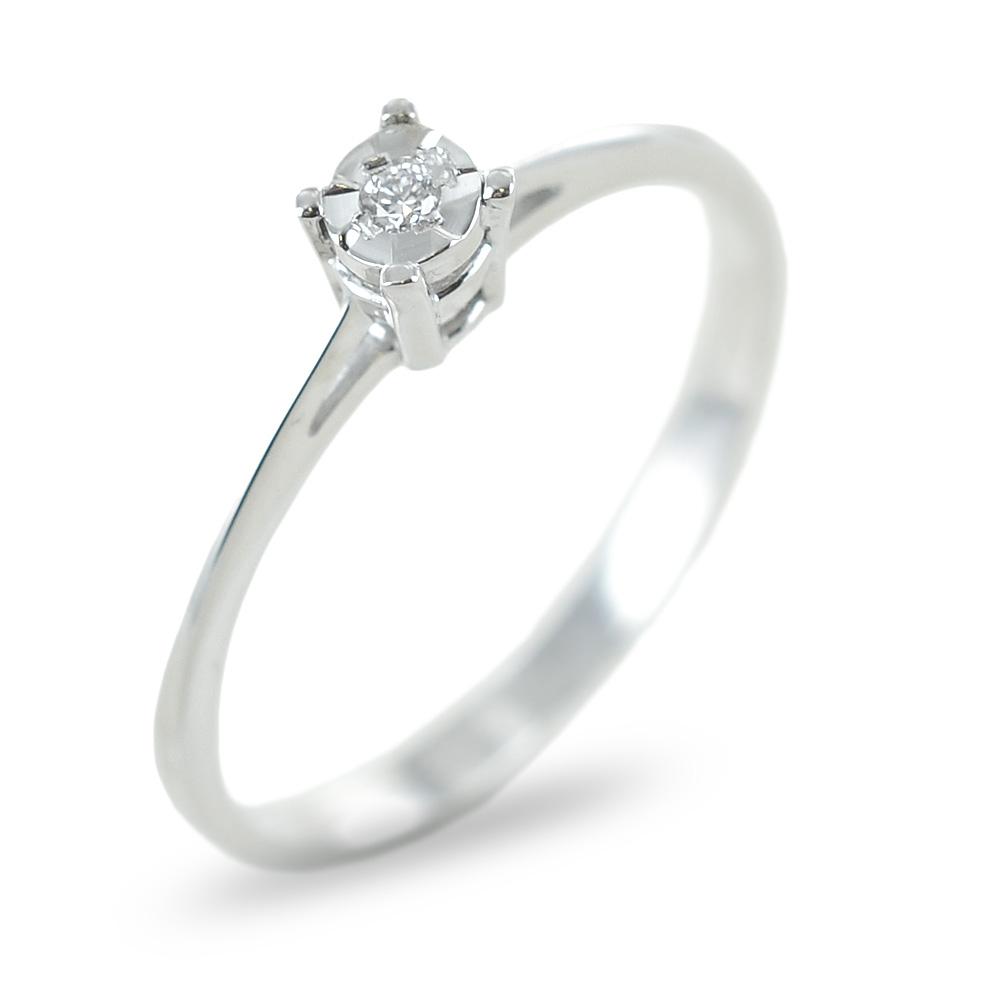 Anello solitario con incastonatura diamantata e diamante ct 0.02