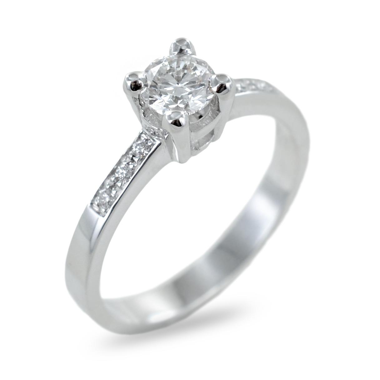 Anello solitario con pave di diamanti sul gambo 0.40 ct