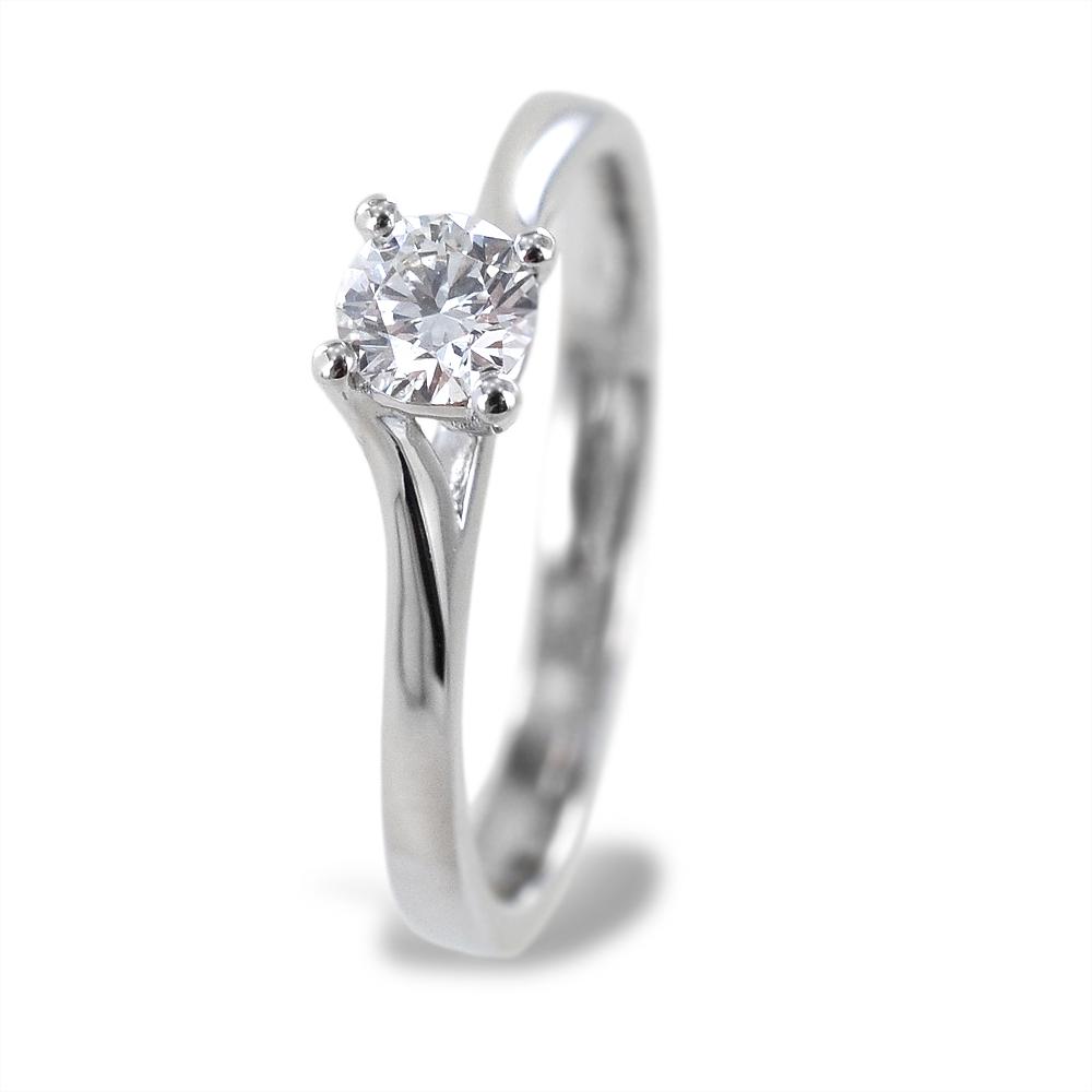 Anello solitario medio con diamante montatura intrecciata 0.33 carati