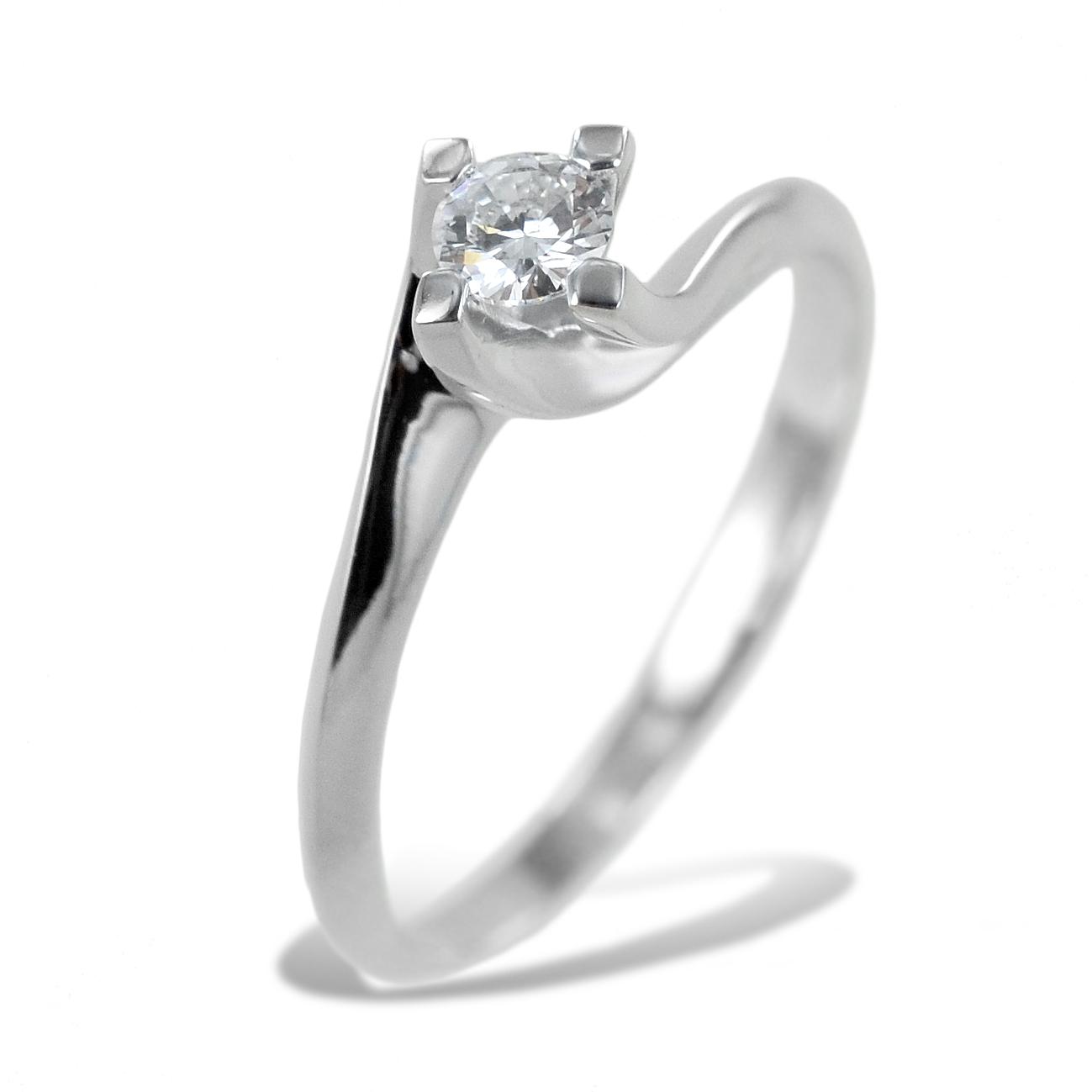 Anello solitario medio con diamante montatura Valentine 0.18 carati