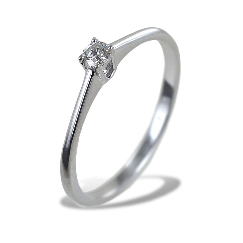 Anello solitario piccolo con diamante montatura dritta 0.09 carati